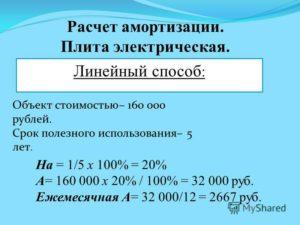 Пример расчета амортизации линейным способом. Амортизация основных средств
