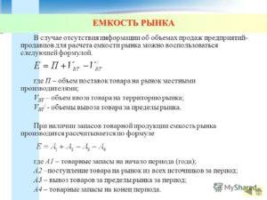 Емкость рынка: что это такое оценка и формула расчета как посчитать