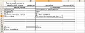 Расчетный лист по заработной плате: образец формы заполнение