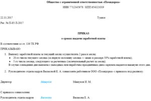Приказ о сроках выплаты заработной платы: образец и правила составления документа