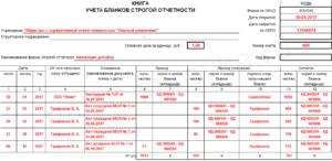 Книга учета БСО - бланков строгой отчетности: пример заполнения