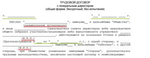Трудовой договор с генеральным директором ООО (он же учредитель): образец