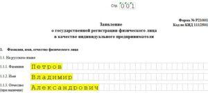 Форма р21001: бланк заявления на регистрацию ИП образец