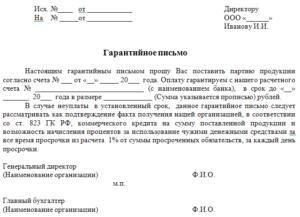 Гарантийное письмо: образец гарантийного письма об оплате бланк