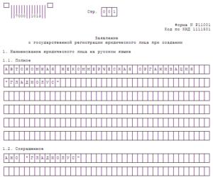 Образец заполнения заявления по форме Р11001