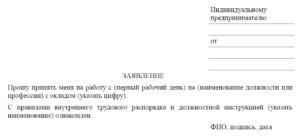 Бланк заявления о приеме на работу: образец заполнения