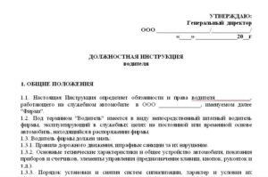 Пример должностной инструкции водителя легкового и грузового автомобиля