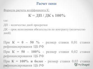 Расчет пени по ставке рефинансирования: формула